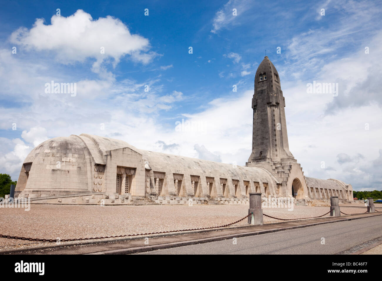 Douaumont Verdun France French WW1 Ossuary Ossuaire de Douaumont at the National war cemetery for the battle of - Stock Image