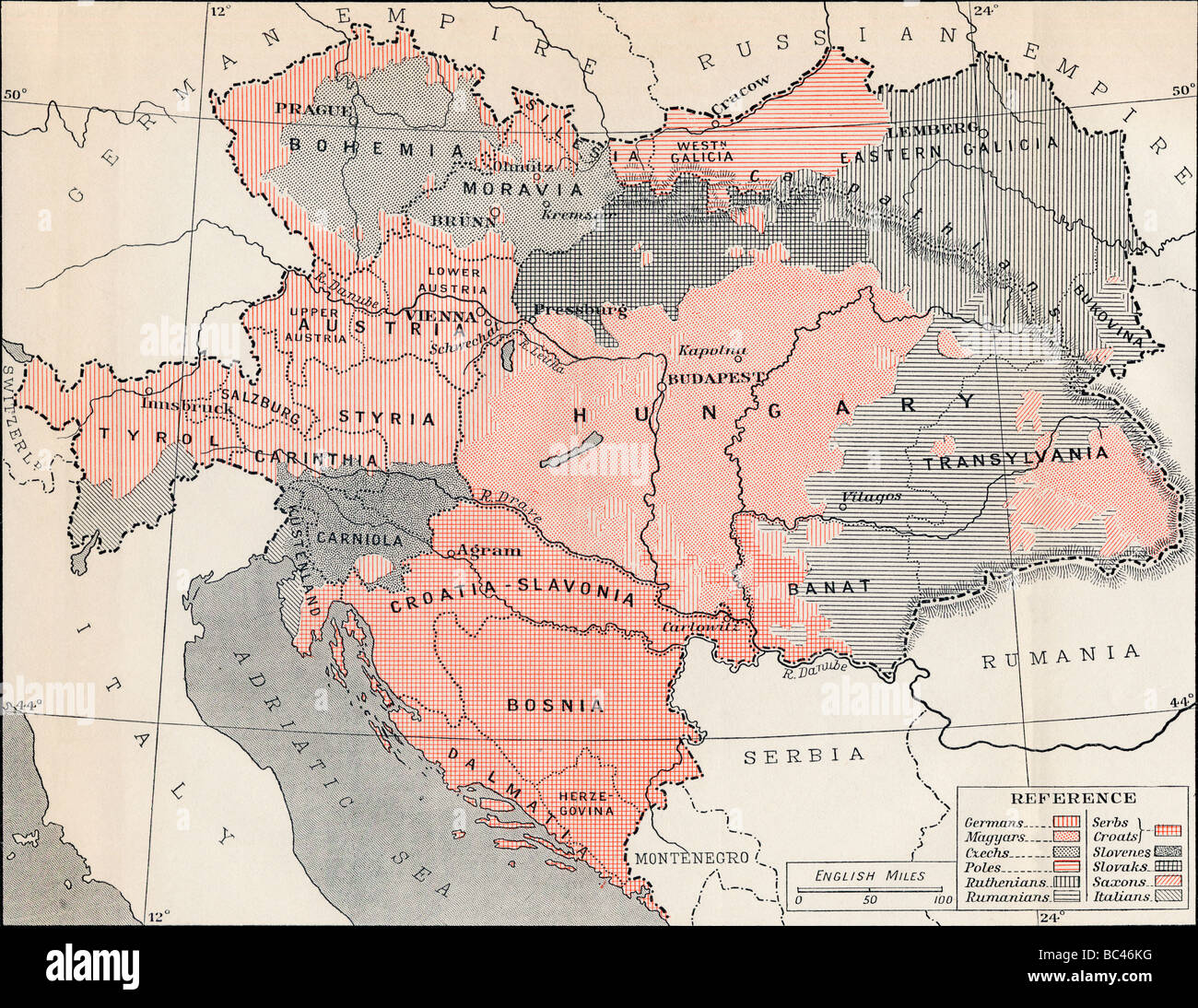 Map of Austria Hungary in 1878. - Stock Image