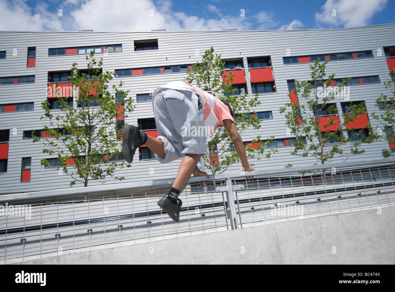 Practicing Parkour at Pro active Event Arsenal Emirates Stadium London - Stock Image