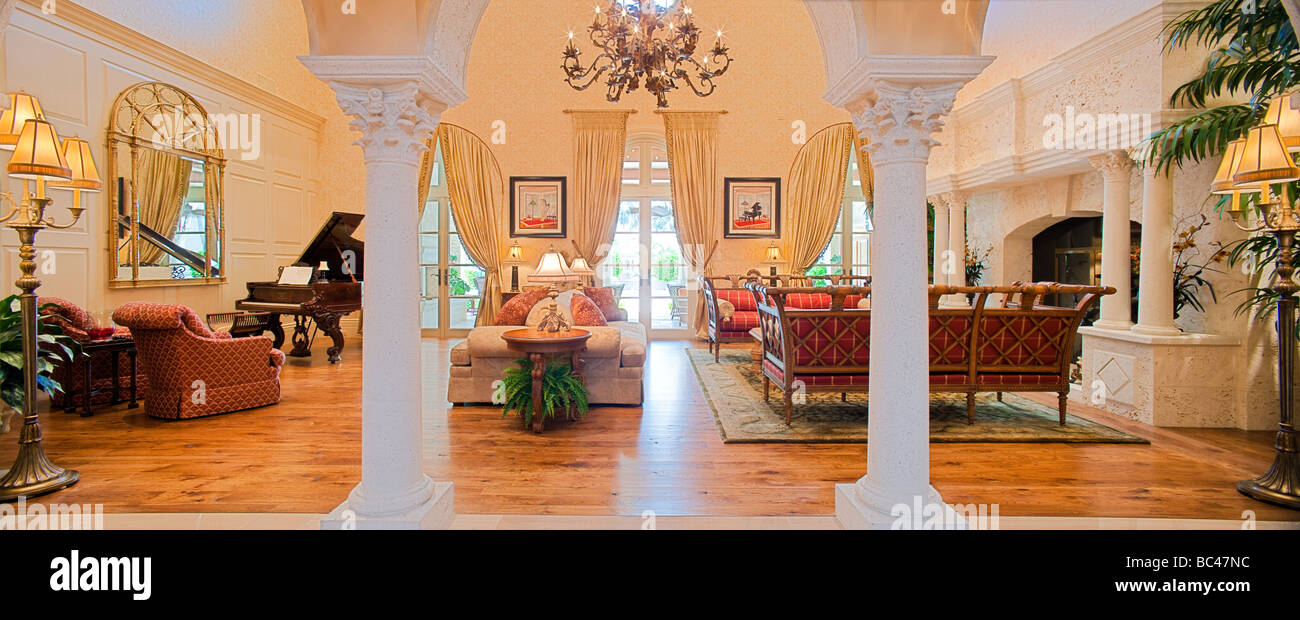 A formal living room panoramic - Stock Image