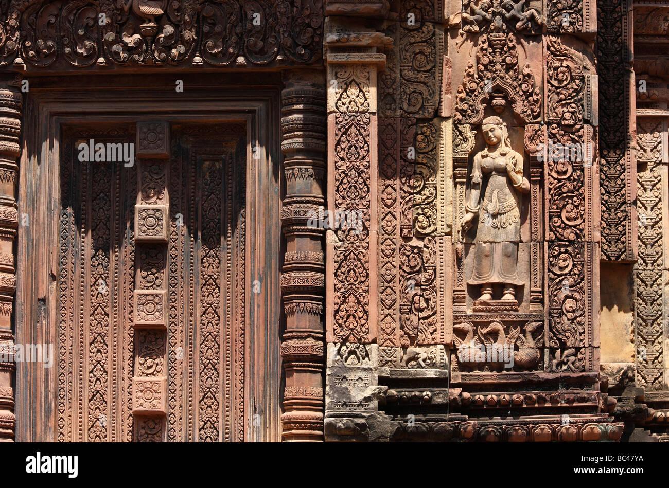 Carved detail banteay srei khmer stock photos