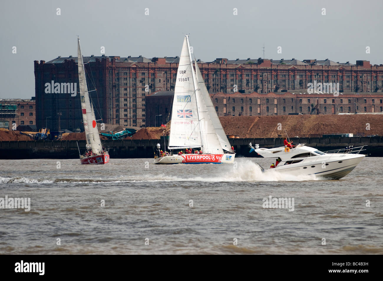 Liverpool 08 Clipper Sailing Yacht Race on River Mersey Liverpool UK - Stock Image