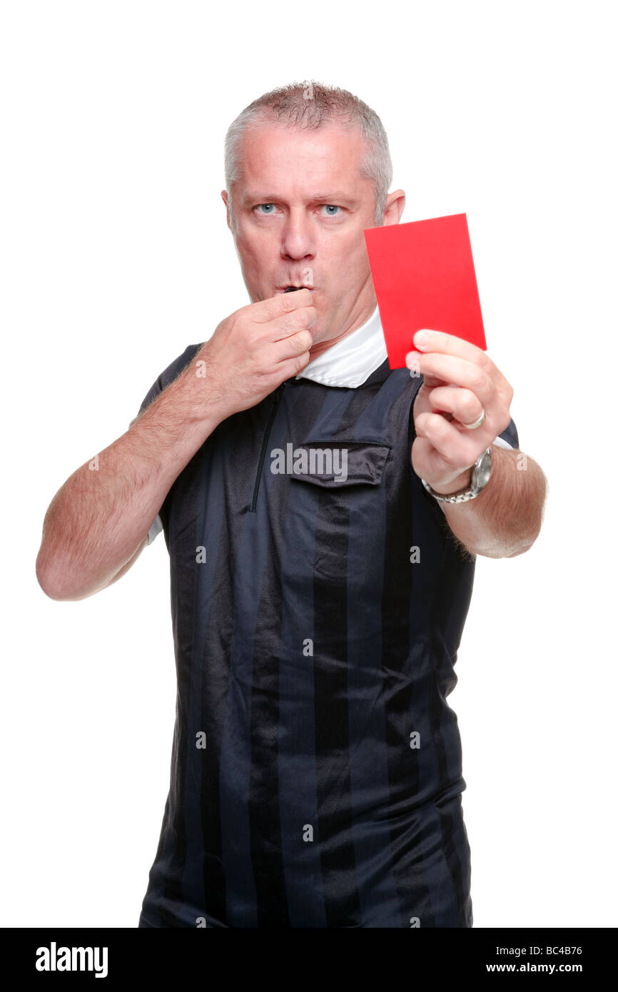 Football referee showing you the red card isolated on a white background - Stock Image