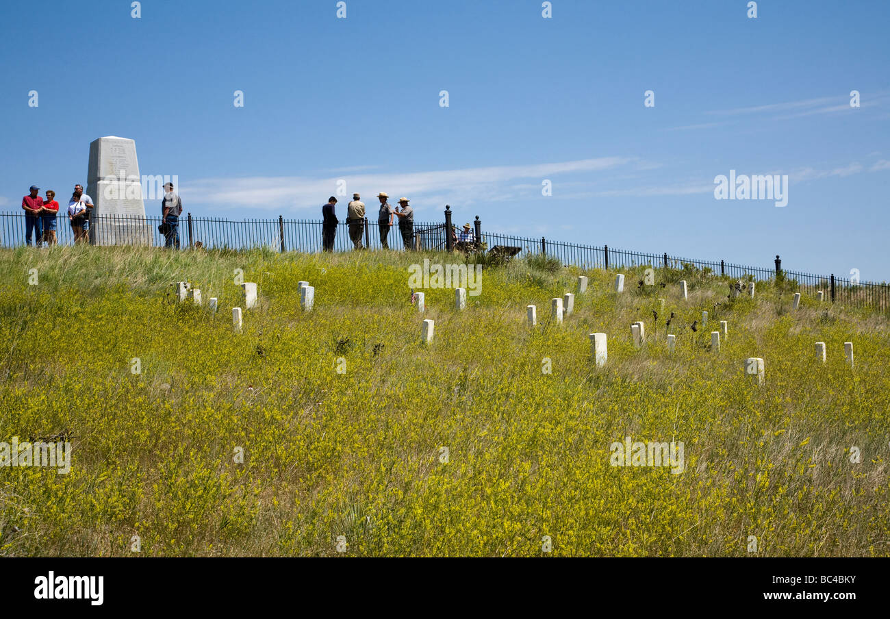 Montana, USA: View uphill to the site of Custer's Last Stand and the battle of the Little Bighorn and Custer's grave. Stock Photo