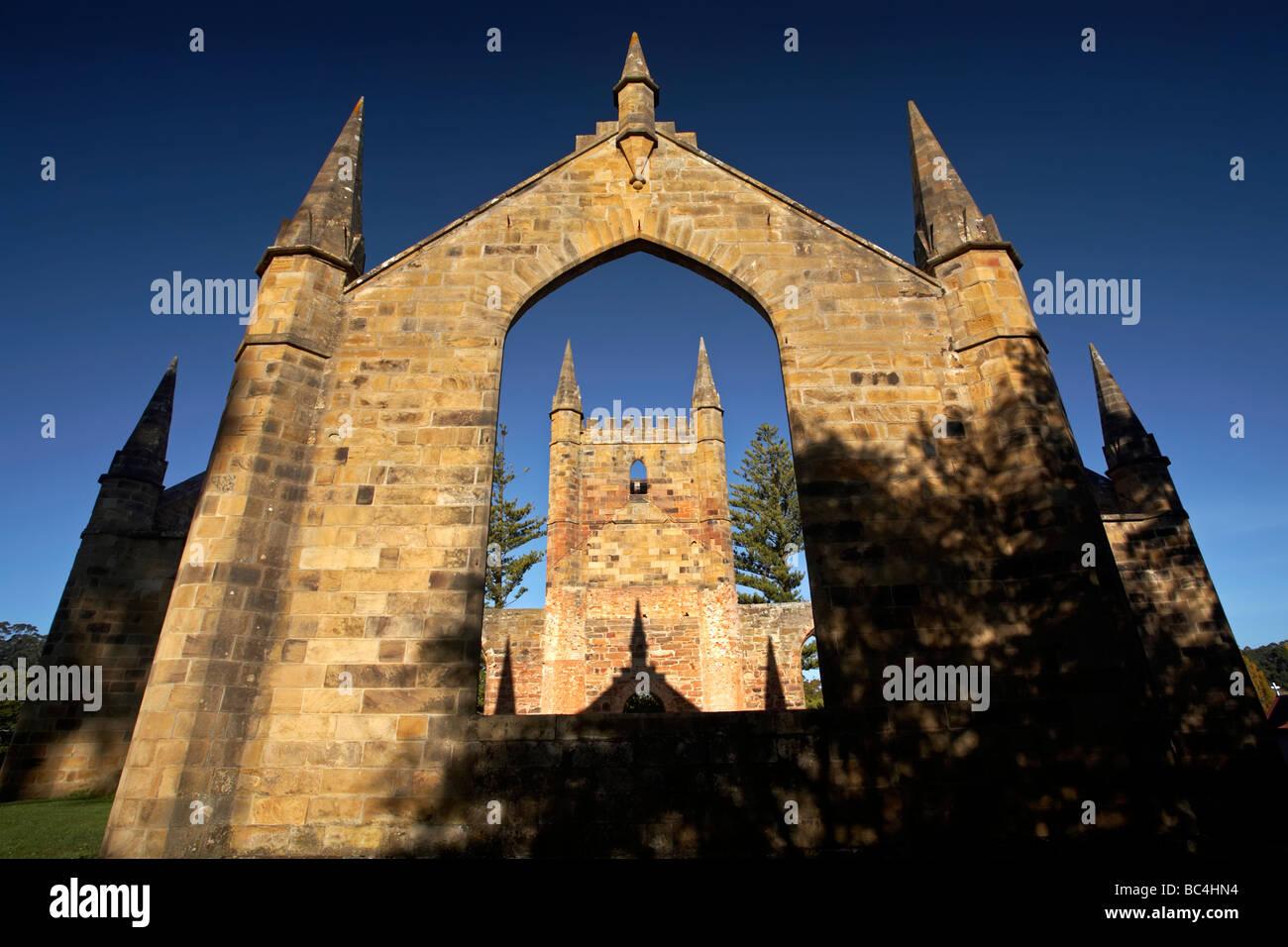 Port Arthur Penal Colony Church Stock Photo