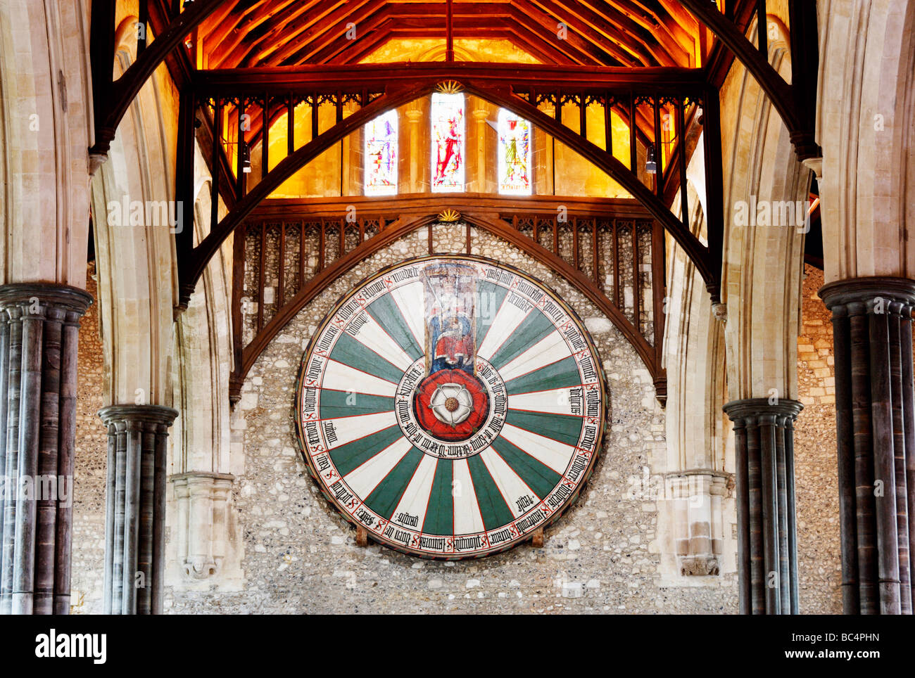King Arthur's round table in The Great Hall, Winchester castle, Winchester, Hampshire, England, United Kingdom Stock Photo