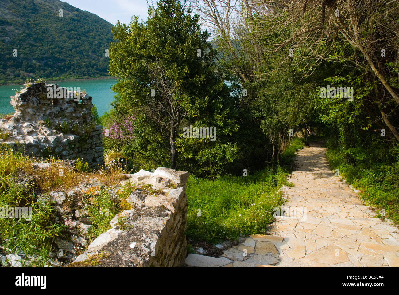 Path in ancient Butrint Albania Europe - Stock Image