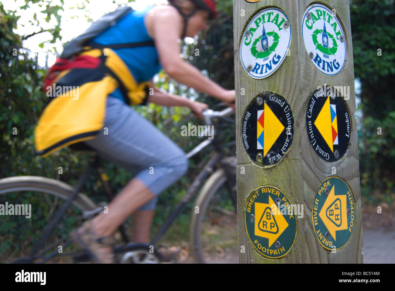 female cyclist passing a signpost showing routes to the grand union canal walk the capital ring, and brent river - Stock Image