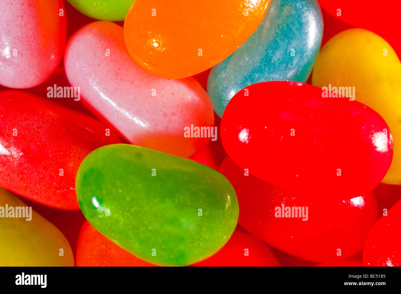 Multi colored jelly beans captured in 16 bit and provided in Adobe1998 color space to hold difficult color tones - Stock Image