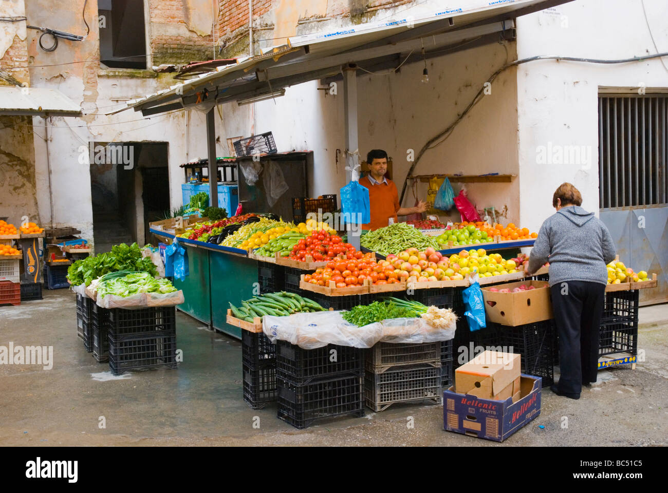 Market stalls in Blloku district of Tirana Albania Europe - Stock Image