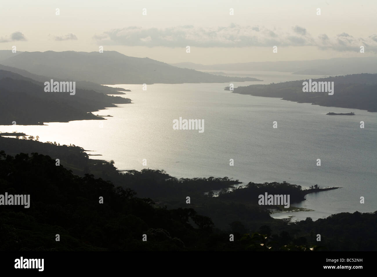 A view looking from Arenal Volcano along the length of Lake Arenal in Costa Rica - Stock Image