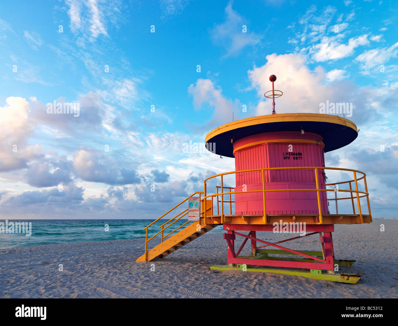 Art Deco style lifeguard station  on South Beach Miami at sunrise Stock Photo