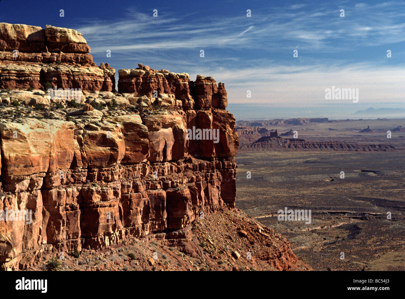 Red rock formations of MONUMENT VALLEY ARIZONA - Stock Image