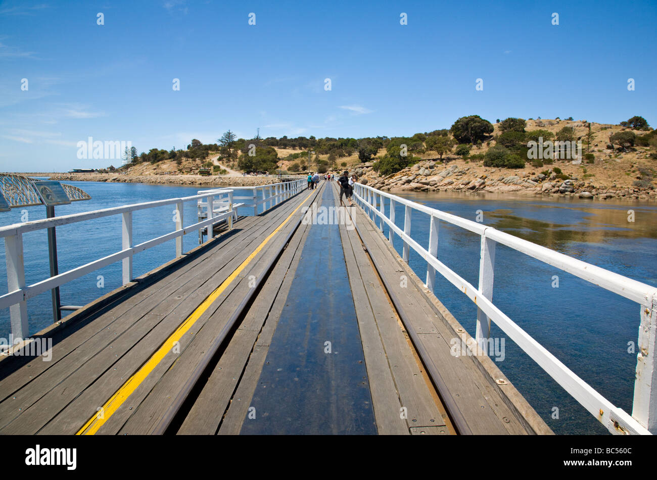 On the causeway between Granite Island and Victor Harbour South Australia - Stock Image