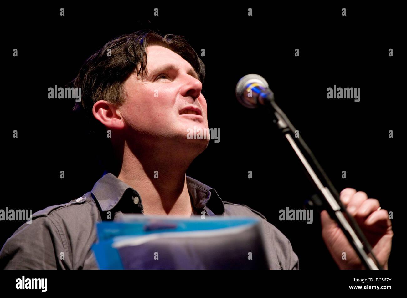 Patrick Jones radical left wing socialist welsh poet performing at Aberystwyth Arts Centre 14 june 2009 - Stock Image