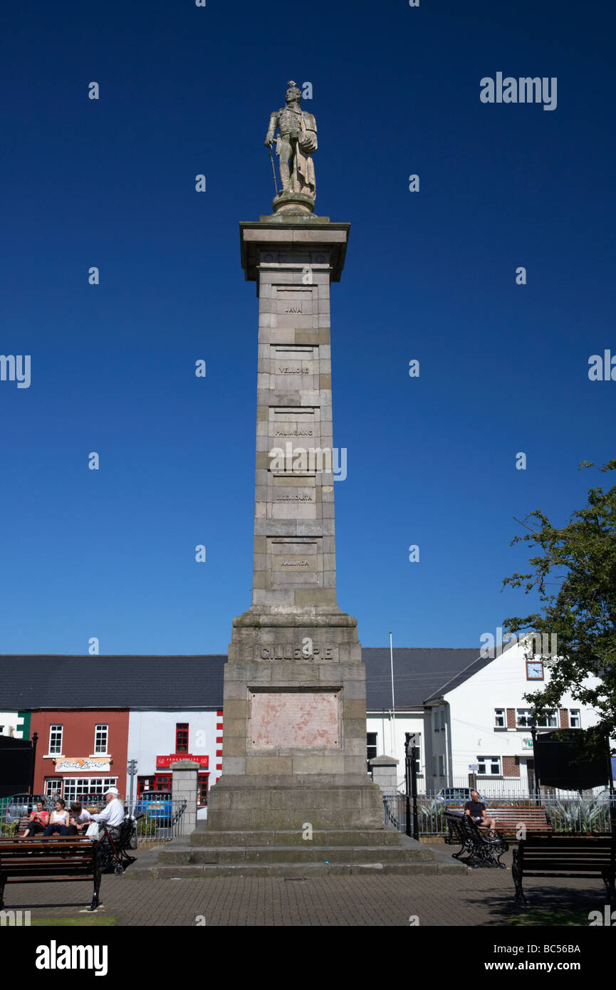 column and statue of major general rollo gillespie in the square comber county down northern ireland uk - Stock Image