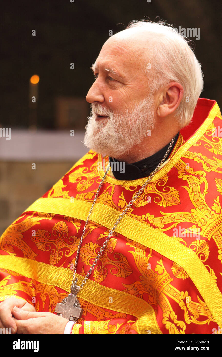 Mitred Archpriest Benedict Ramsden of the Russian Orthodox Church after performing Orthodox Liturgy at Glastonbury - Stock Image