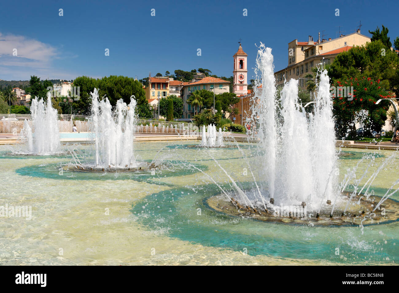 Fountains in Place Massena Nice - Stock Image
