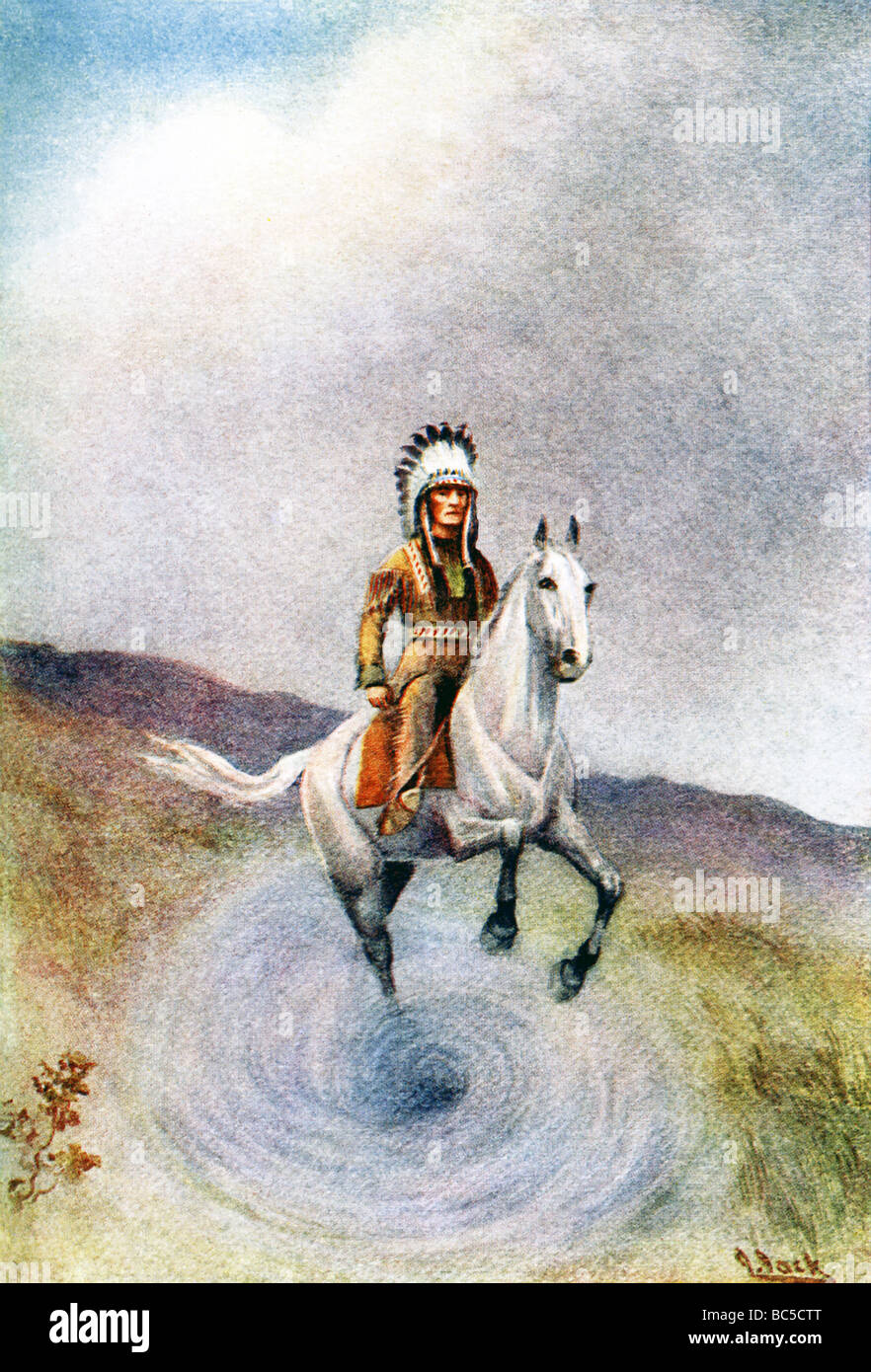 Native American myth of suitor who rescues chief's son by jumoing into a pit, and then emerging back into world. - Stock Image