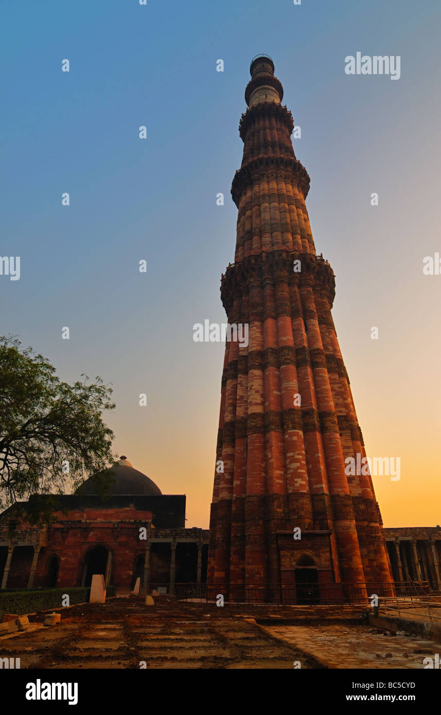 The Qutb Minar, at almost 240 feet (72.5 meters) is the world's largest stone and brick minaret. It was built - Stock Image