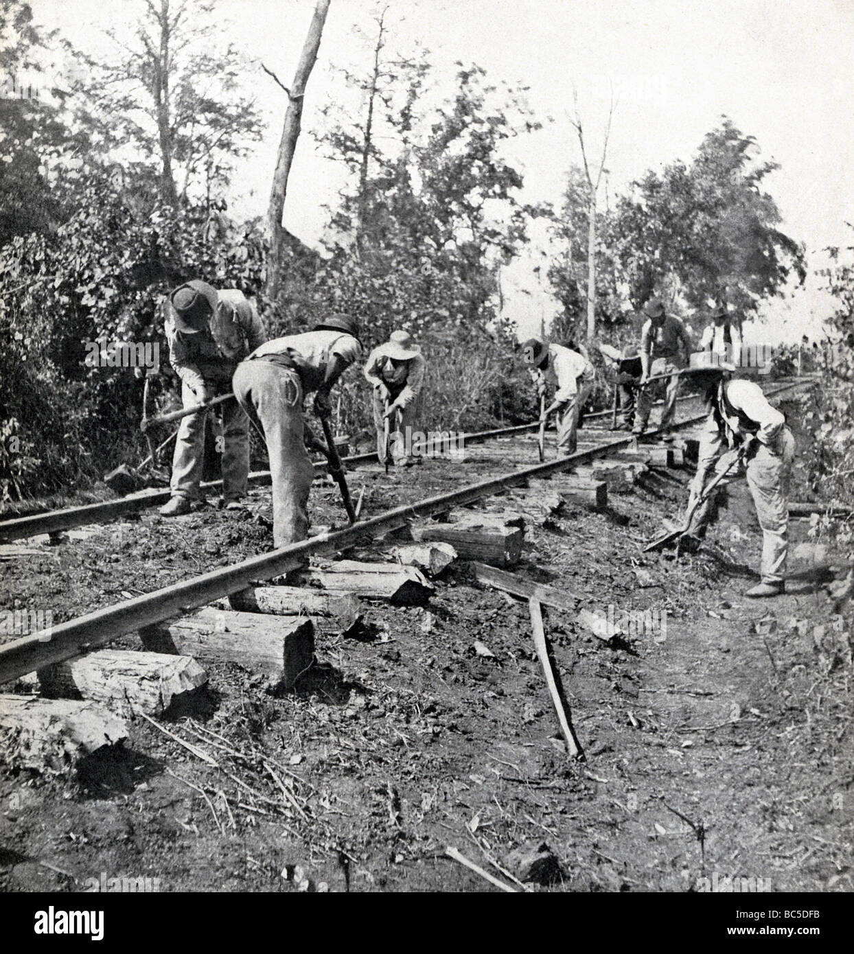 Contraband laborers repair stringer track near Murfreesboro after Civil War Battle of Stone's River in December - Stock Image