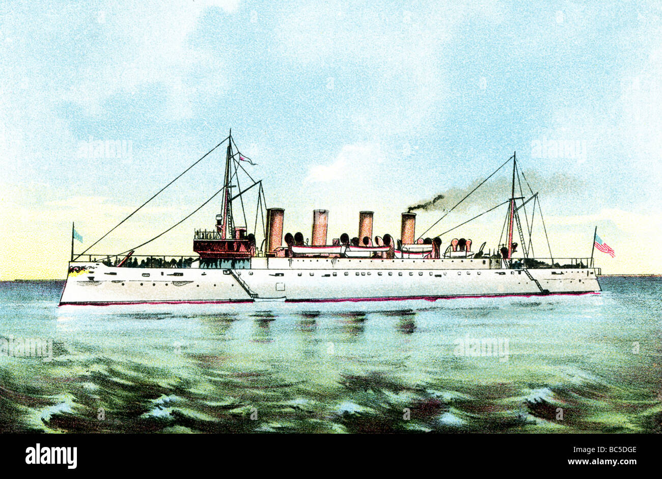 USS Cruiser Columbia, launched in 1892, built as cmmerce raider and conveyed troops in Spanish American War in 1898. - Stock Image