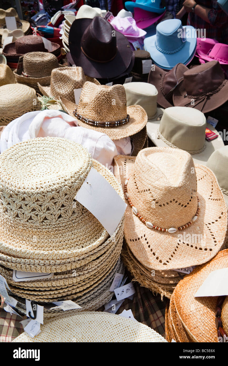 Selection of sun hats for sale - Stock Image