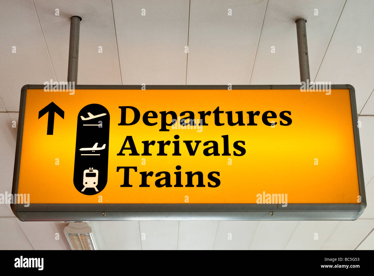 Departures and arrivals sign at airport - Stock Image