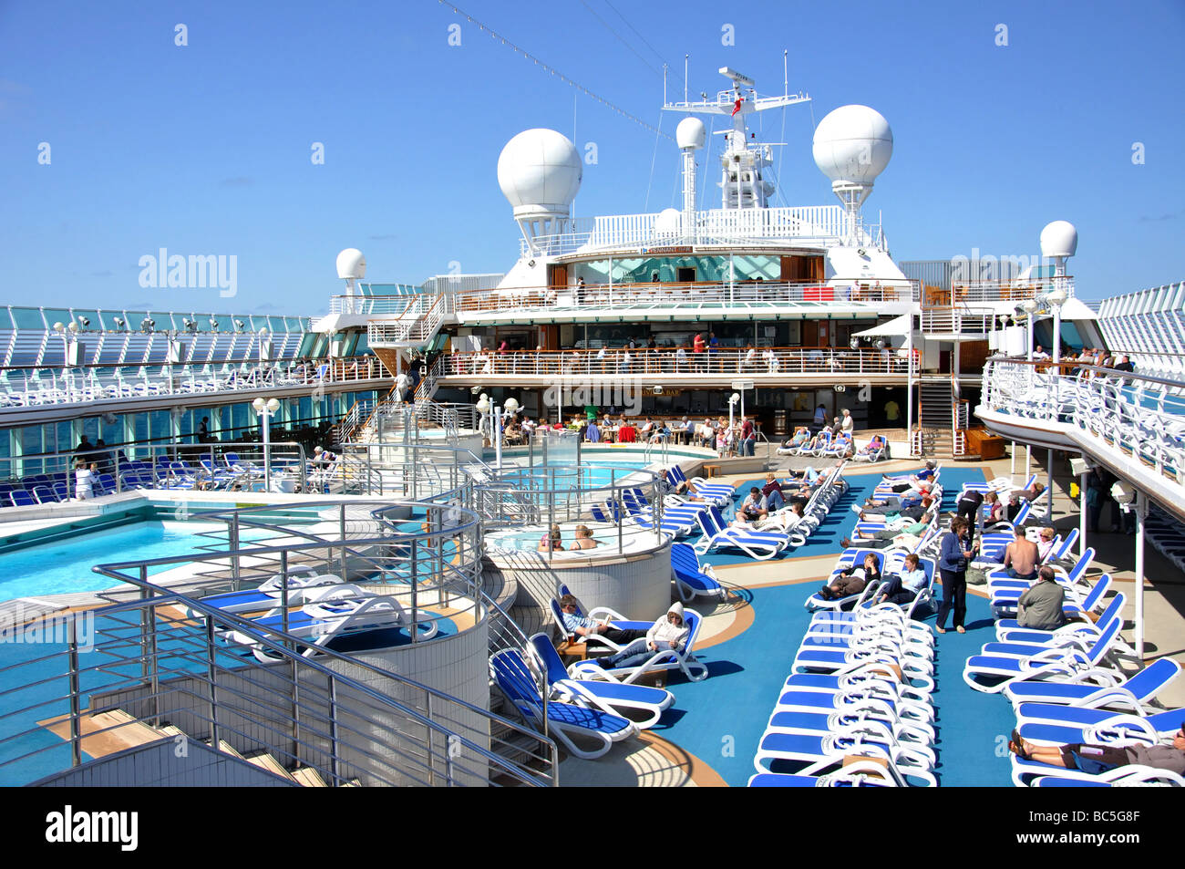 sun deck p o oceana cruise ship north sea europe stock photo