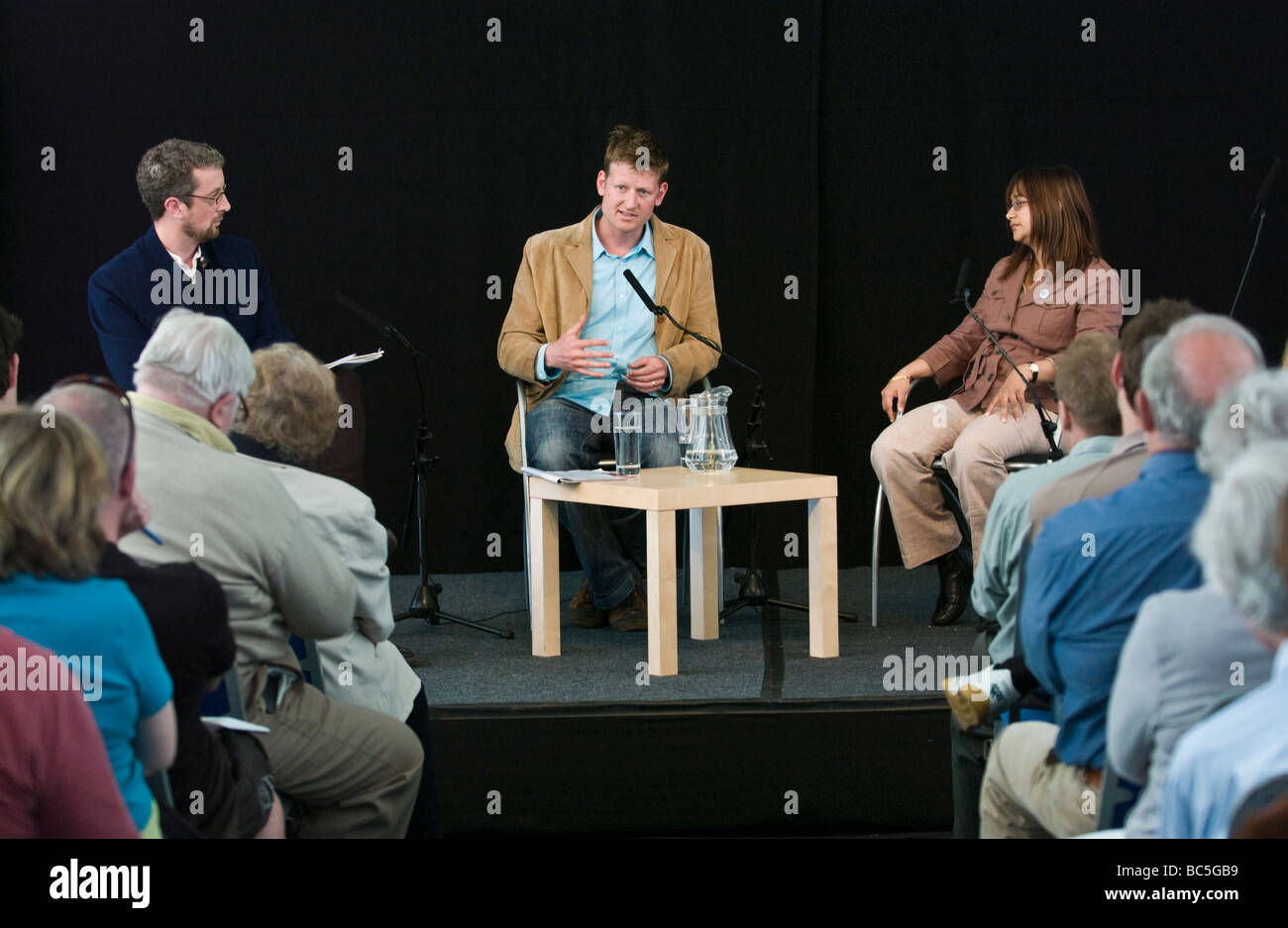 Green World Question Time at Hay Festival 2009 l-r Andy Fryers, Mark Lynas, and Dr Farahanaz Faizal - Stock Image