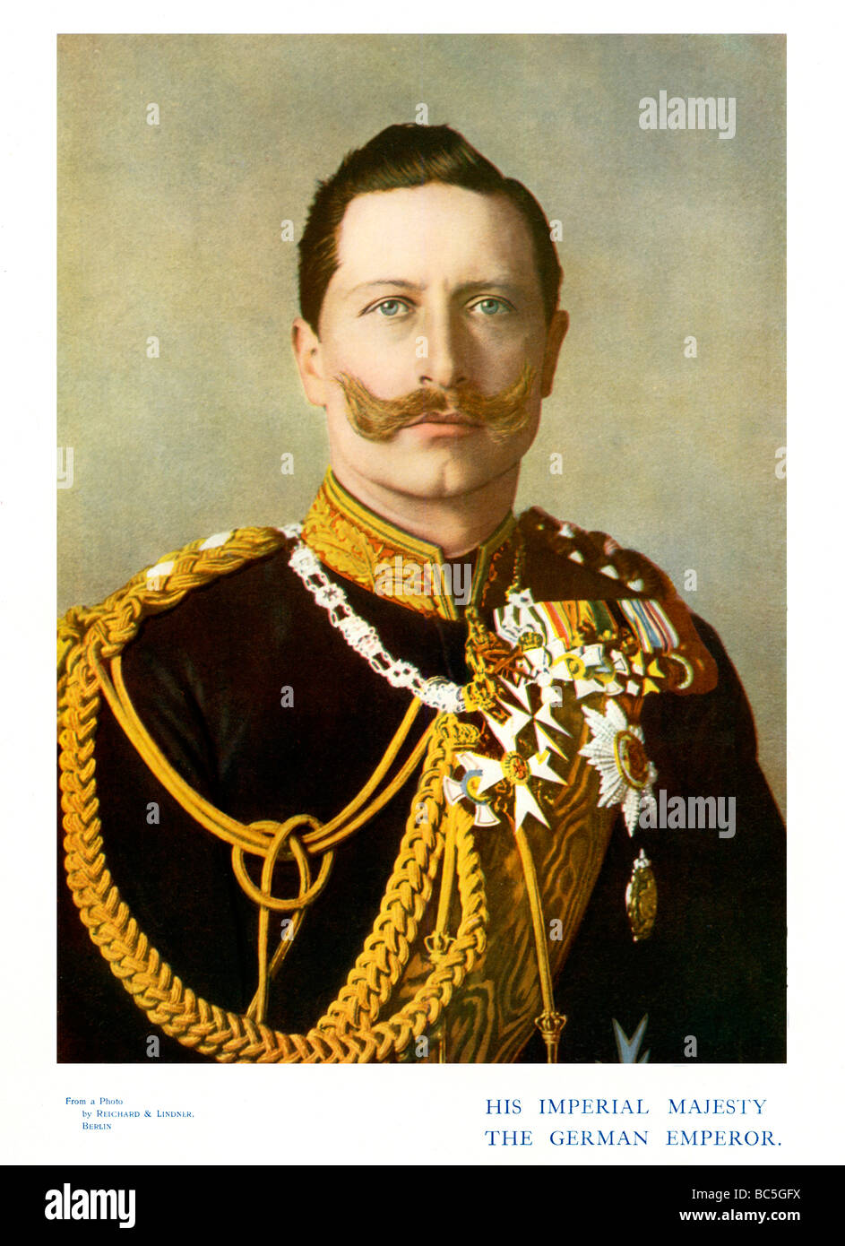 Kaiser Wilhelm II 1901 colour portrait photograph of the last German Emperor and King of Prussia 1859 1941 - Stock Image