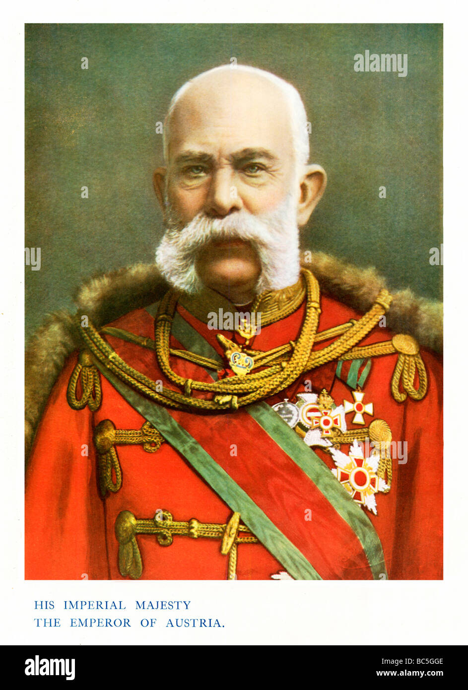 Emperor Franz Joseph 1901 colour portrait photograph of the Emperor of Austria and King of Hungary 1830 1916 - Stock Image