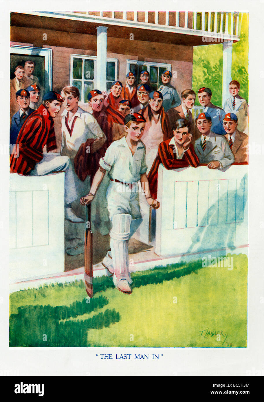 Last Man In 1920s illustration of a schoolboy cricket hero starting his long walk to the crease - Stock Image