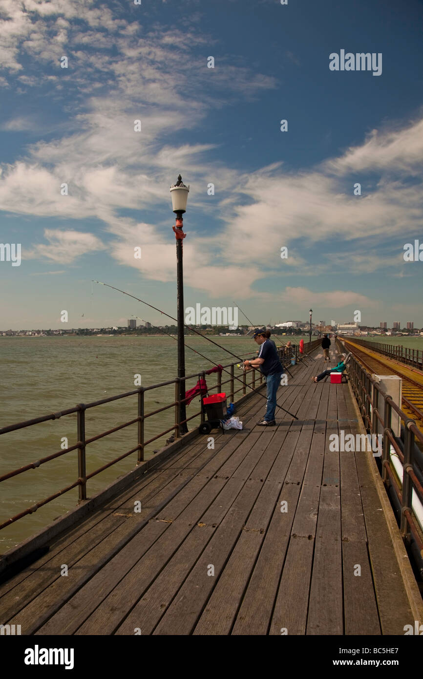 Anglers on Southend Pier - Stock Image