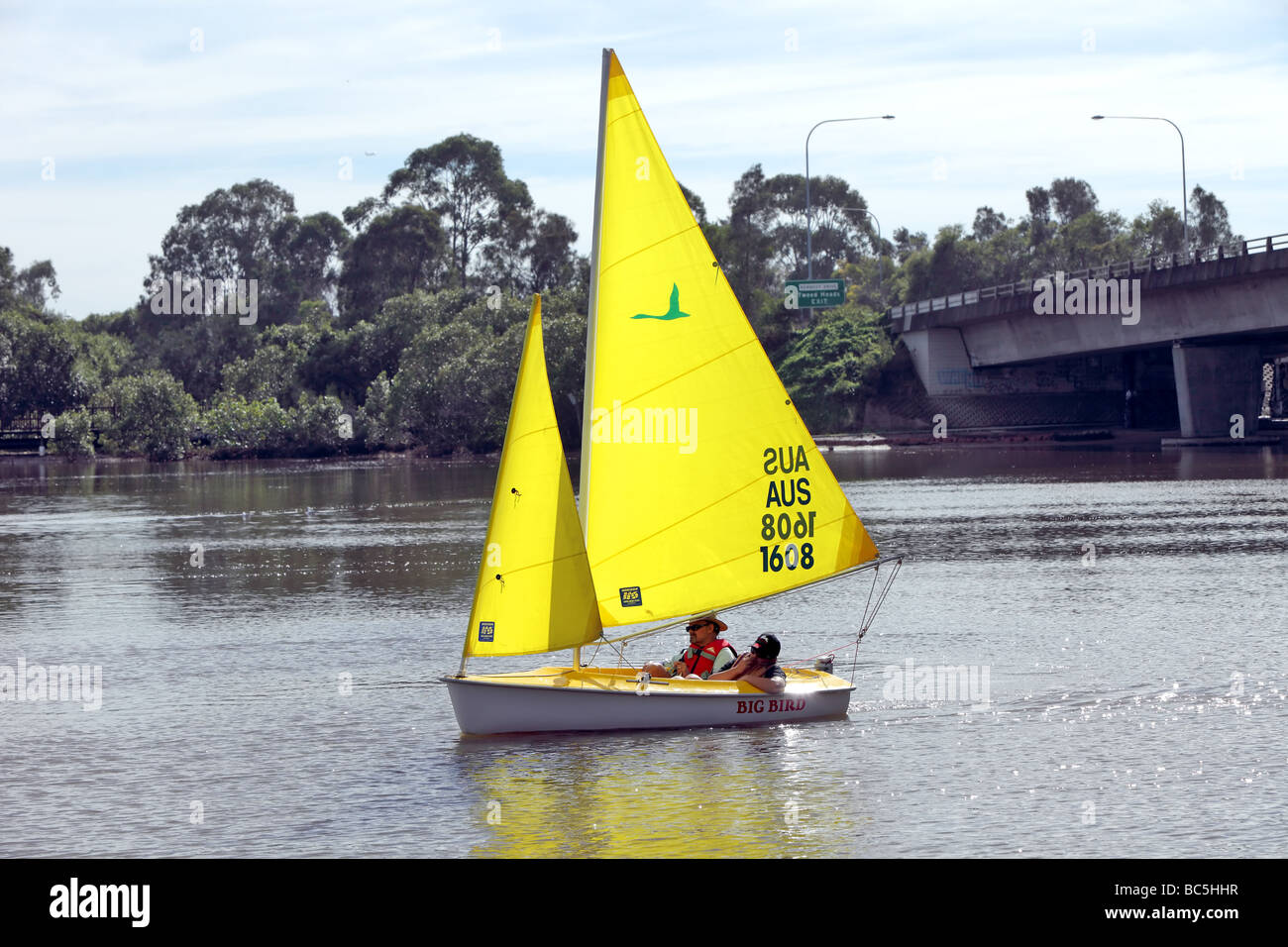 Sail boats on a river given rides to children - Stock Image