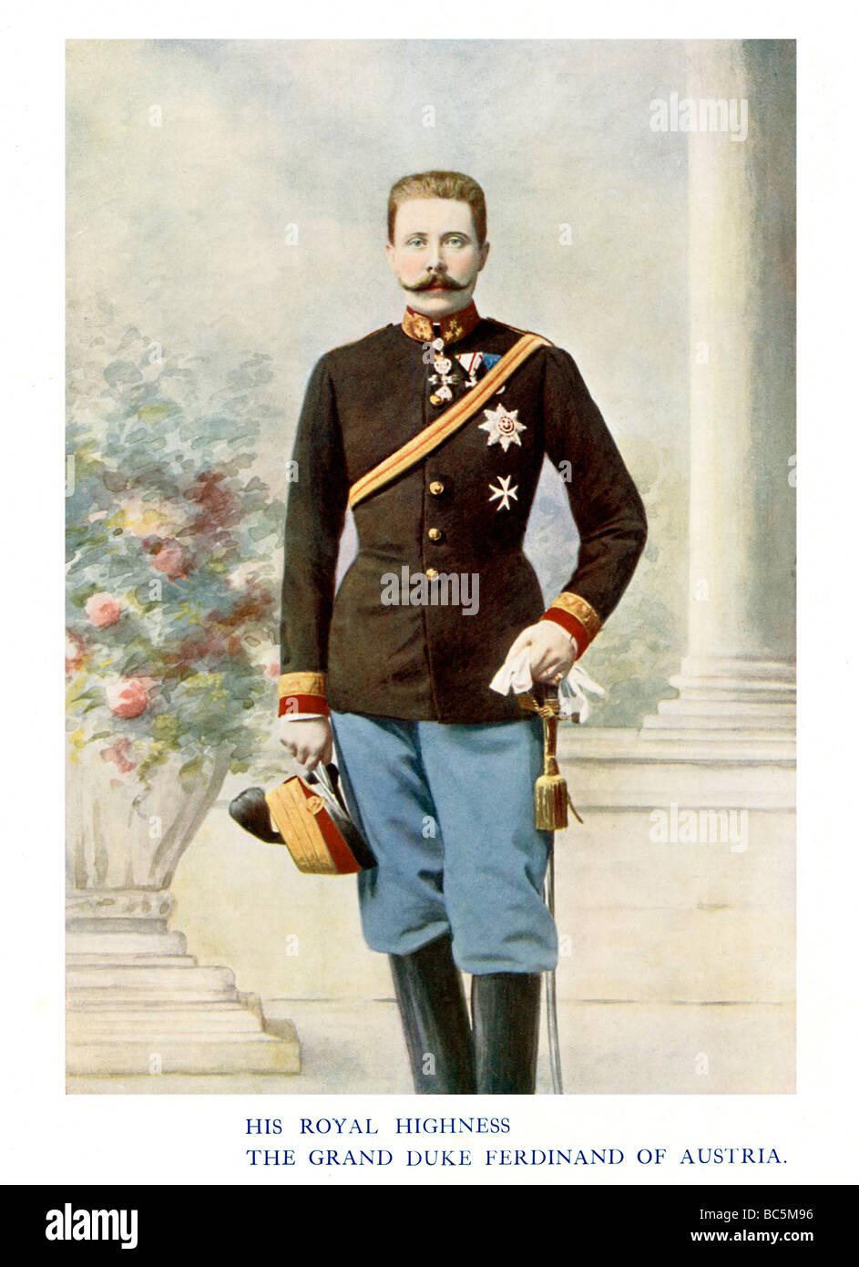 Archduke Franz Ferdinand 1901 colour portrait photograph of the nephew of Emperor Franz Joseph assassinated at Sarajevo - Stock Image