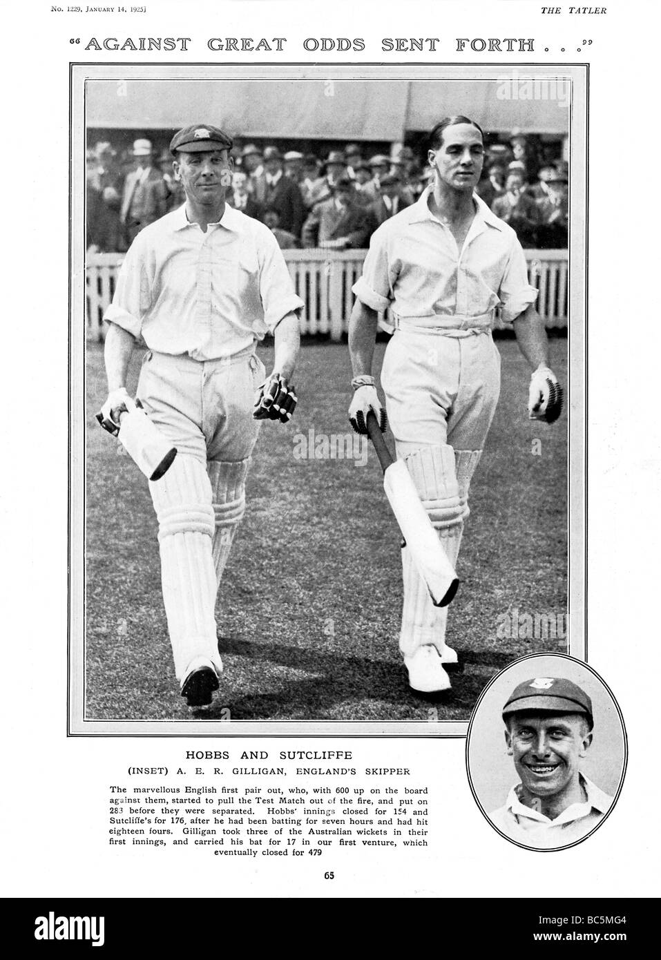 Hobbs and Sutcliff 1925 photo of the great England opening partnership striding out to reply to the 600 of Australia - Stock Image