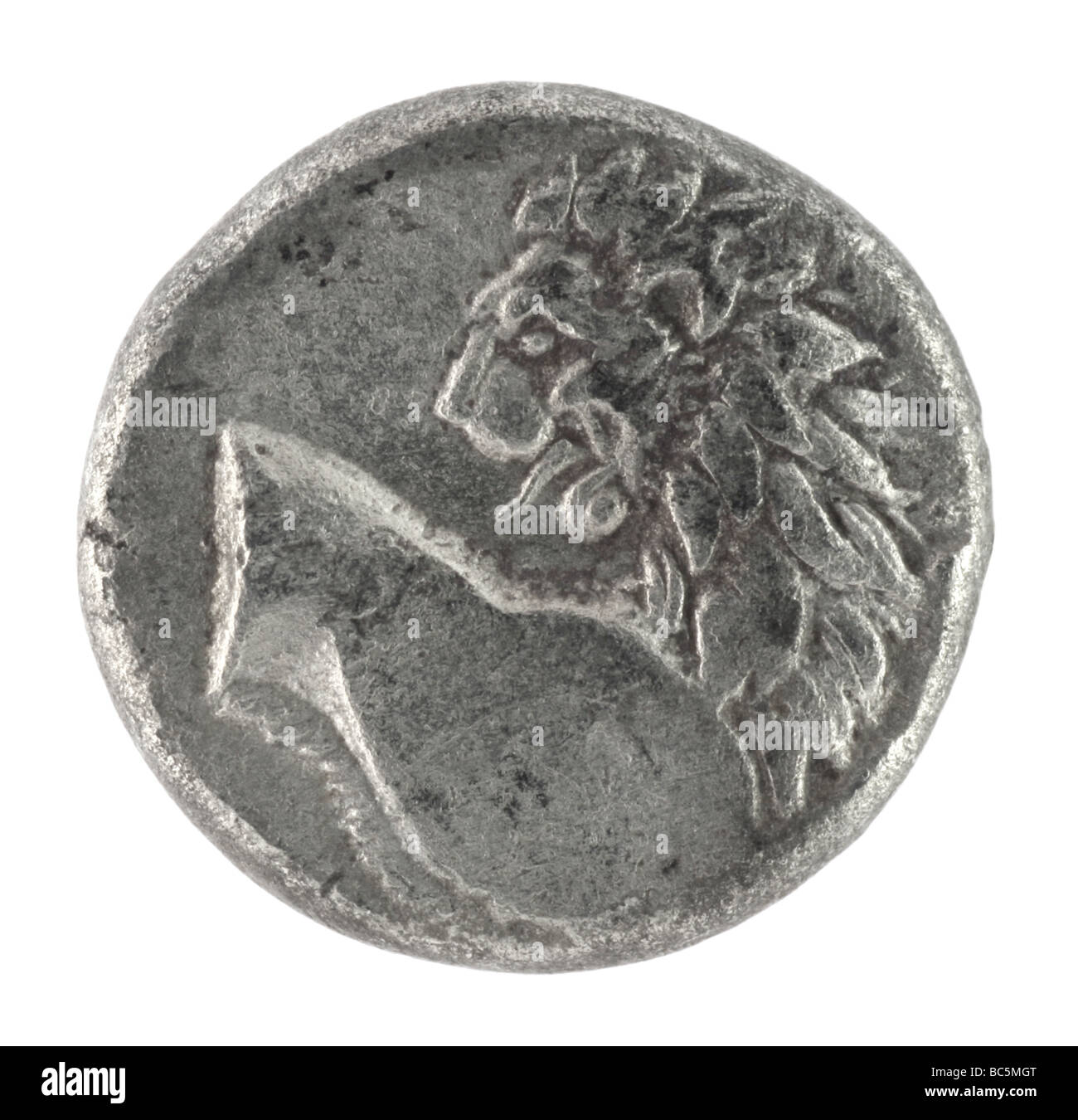 Lion on ancient Greek half drachm from 350 BC - Stock Image