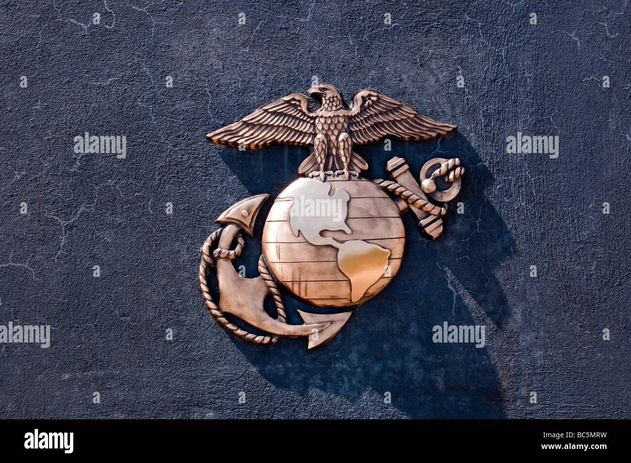United States Marine Corps emblem on granite - Stock Image