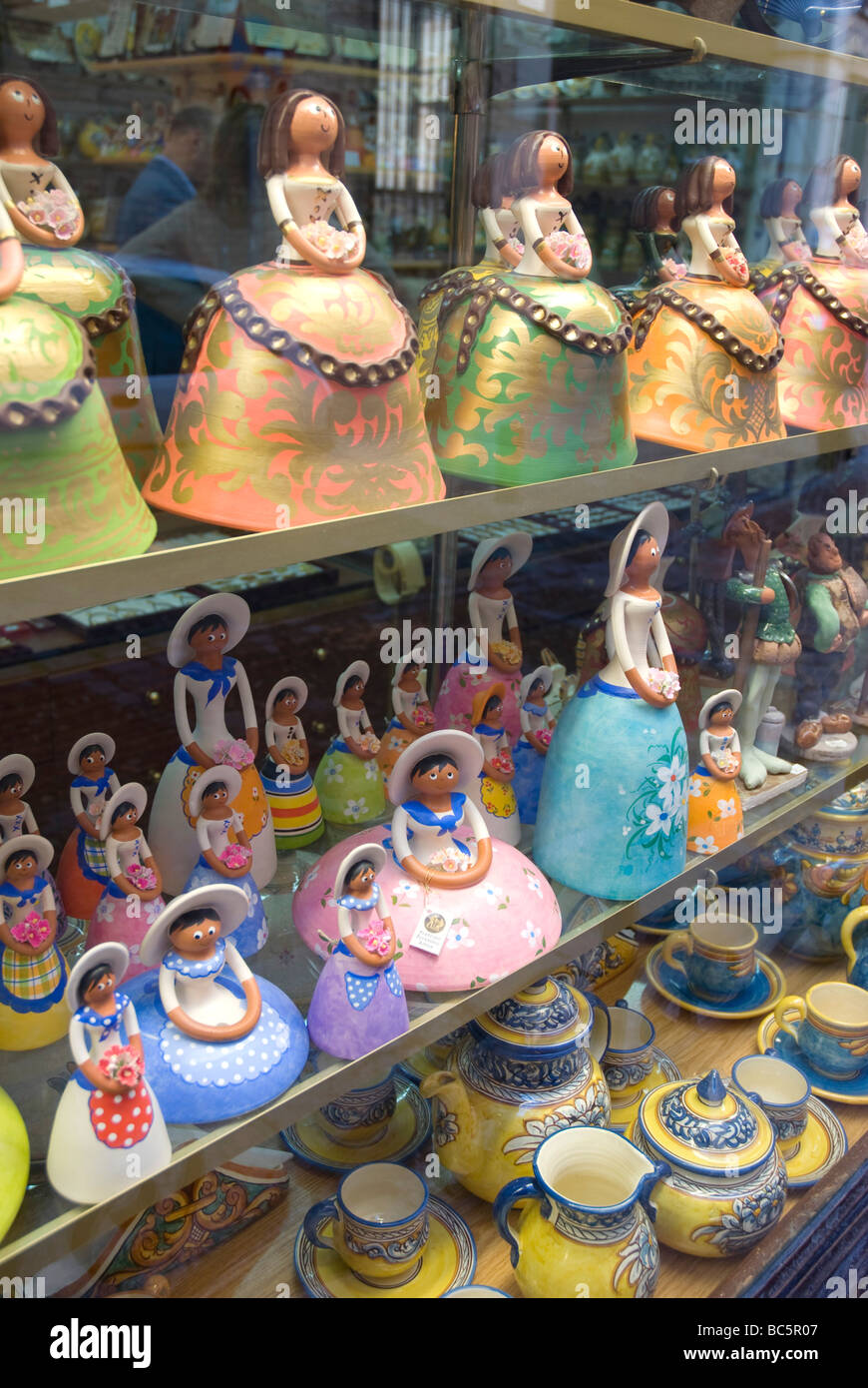 Ceramic figures in a shop window. Toledo. Castile La Mancha. Spain. - Stock Image