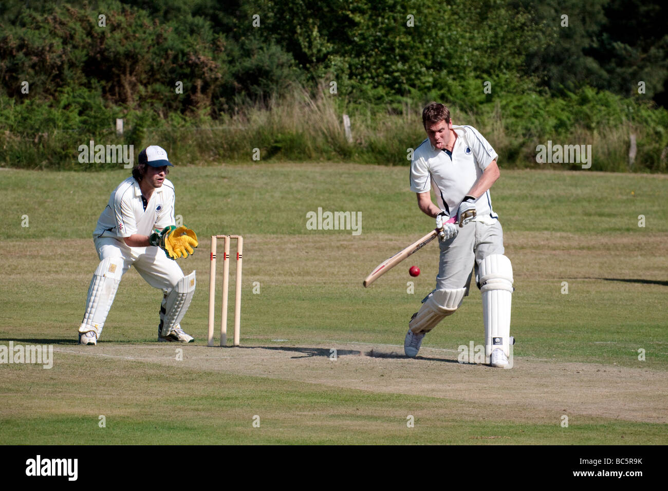 Village cricket being played at Coleman's Hatch - Stock Image