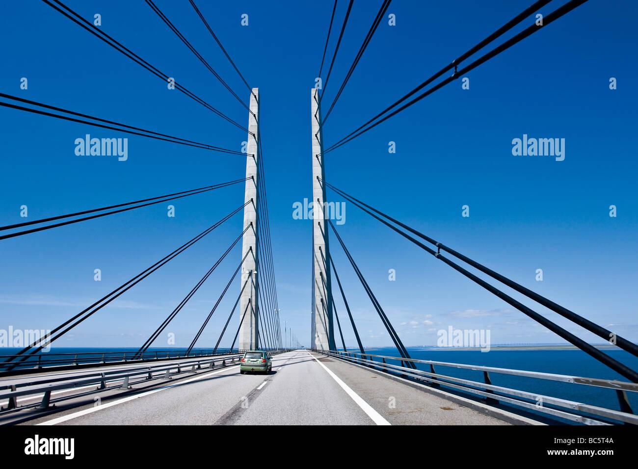 The Oresund Bridge between Denmark and Sweden - Stock Image