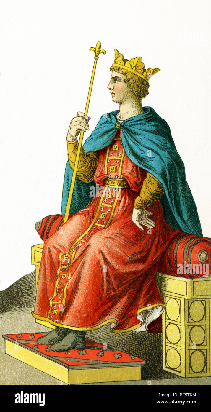 The figure depicted here represents the German Emperor Frederick II (died 1250). The illustration dates to 1882. - Stock Image