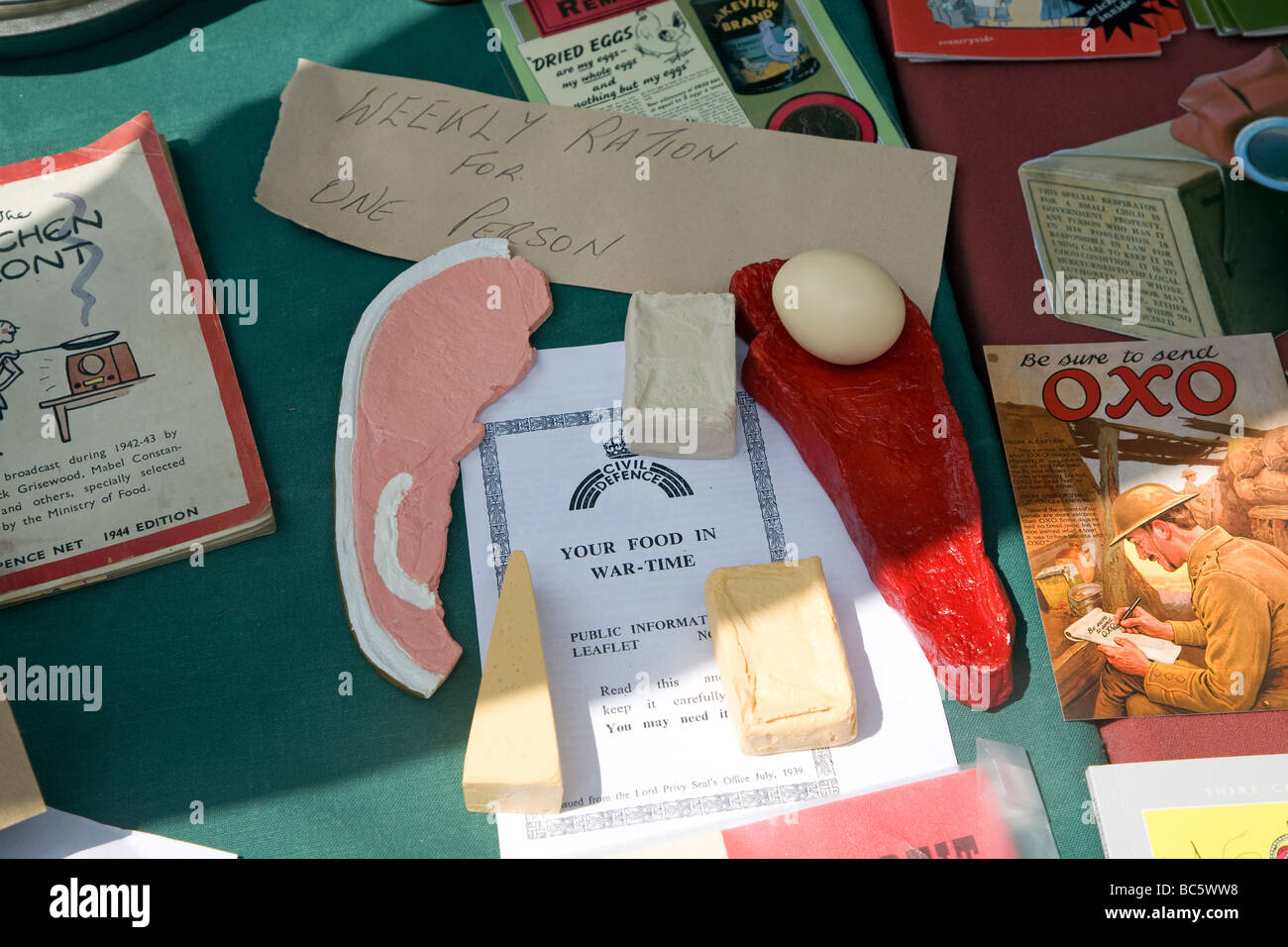 Second world war food rations - Stock Image