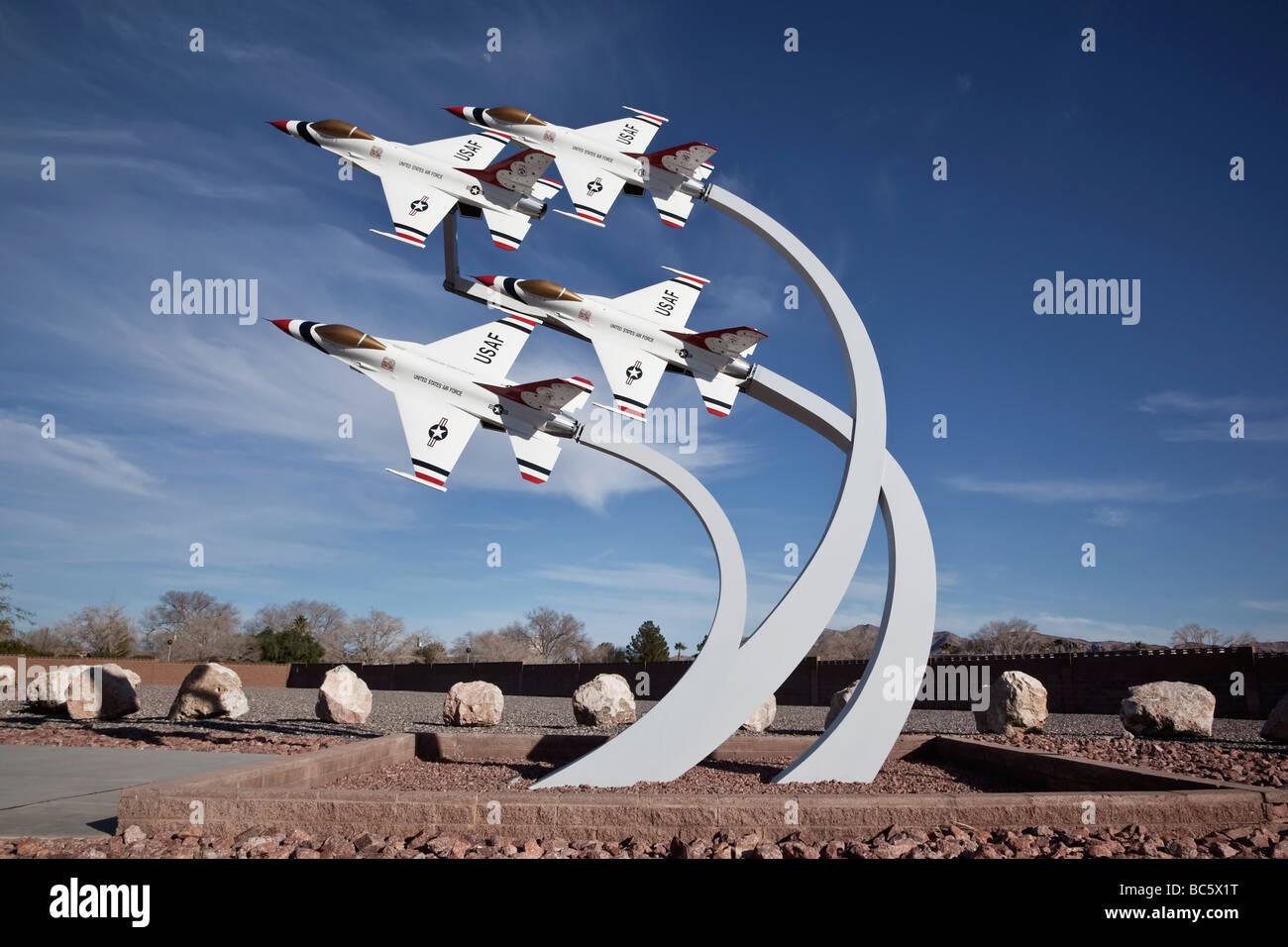 The Thunderbirds memorial at Nellis AFB Nevada USA - Stock Image