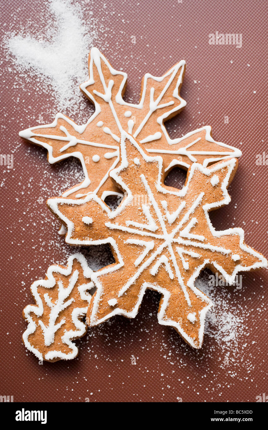Gingerbread Snowflakes And Leaf Stock Photo 24716761 Alamy