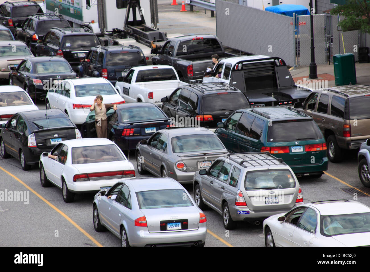 traffic jam, Long Island, NY USA - Stock Image