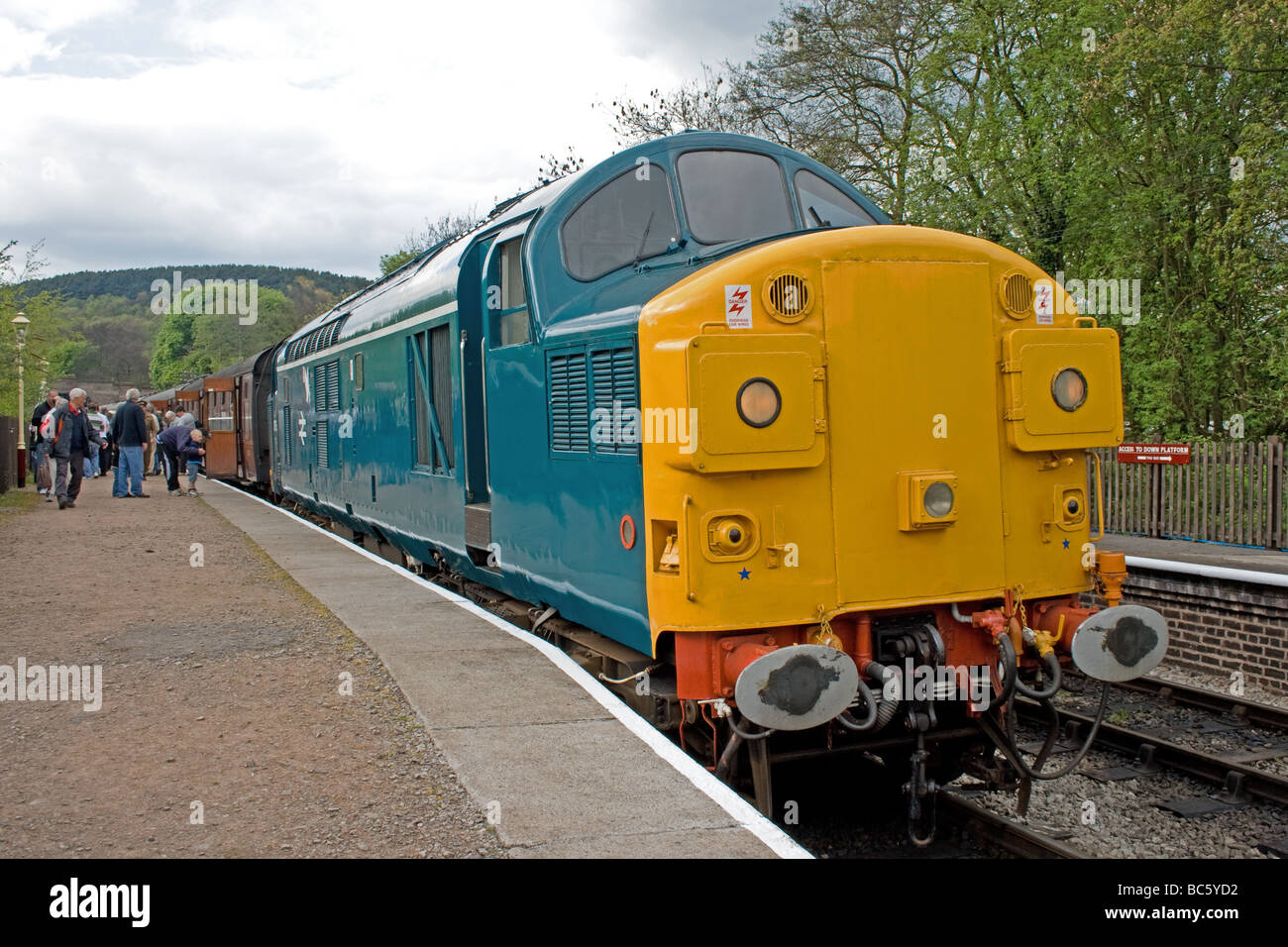 Restored Class 37 at Froghall Station Churnet Valley Railway Staffordshire 26th April 2009 - Stock Image