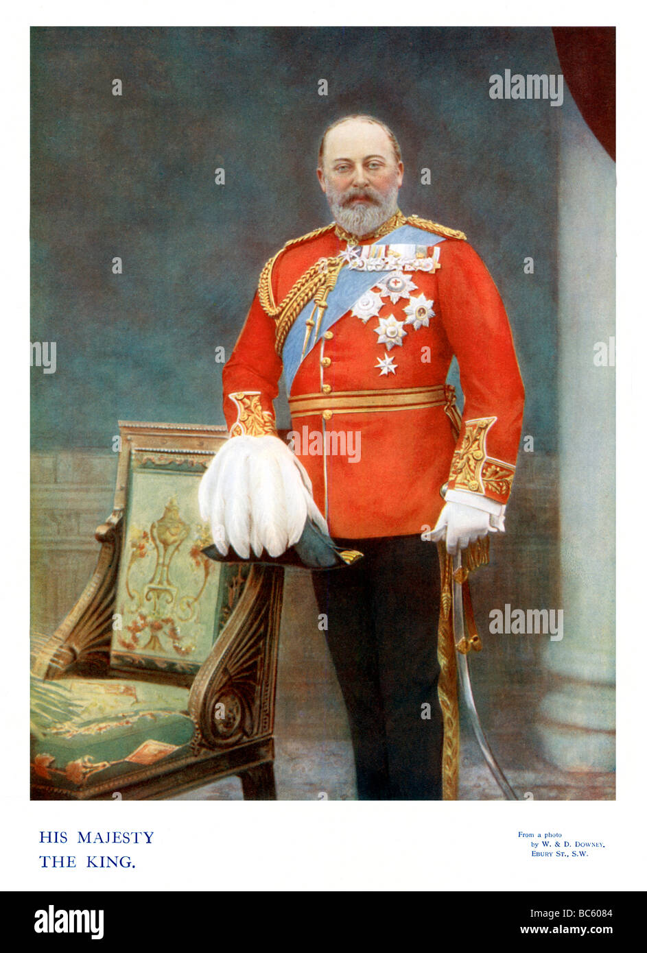 King Edward VII 1901 colour portrait photograph of the English monarch at the beginning of his reign - Stock Image