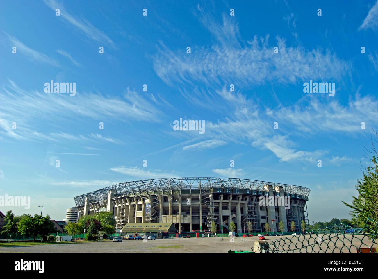 north side of twickenham stadium, or rugby ground, twickenham, middlesex, england, beneath a blue sky with high - Stock Image